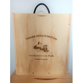 Caisse bois 3 bouteilles Domaine du Galet des Papes